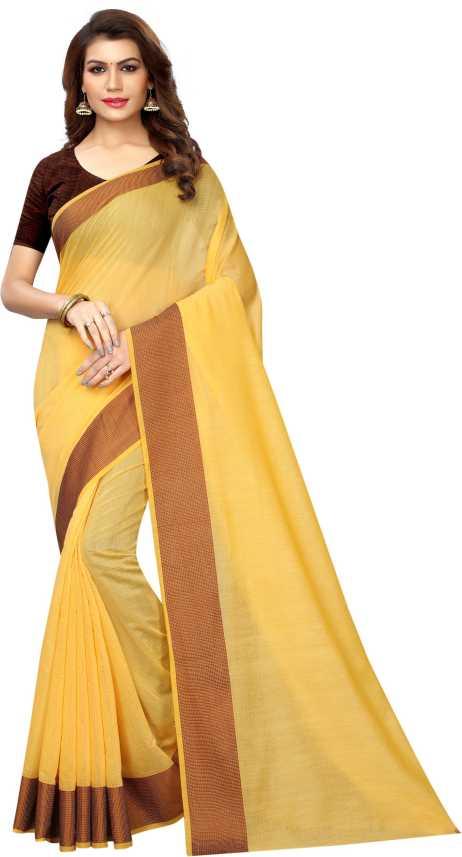 fec098ac2ac Avsar Prints Self Design Chanderi Yellow Cotton Linen Blend Saree (Yellow)