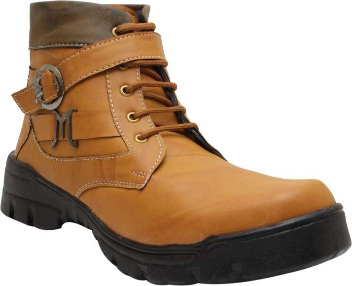 6989972d7d8 YB BAZAAR Men's Synthetic Leather Lace-Up Boot Shoes Boots For Men ...