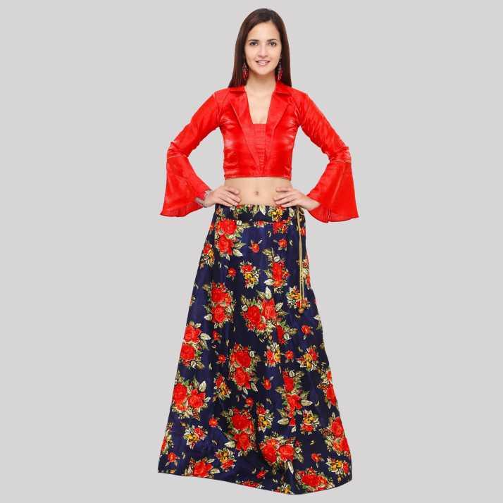 a80f3696e2 Divastri Floral Print Semi Stitched Lehenga & Crop Top (Blue, Red)