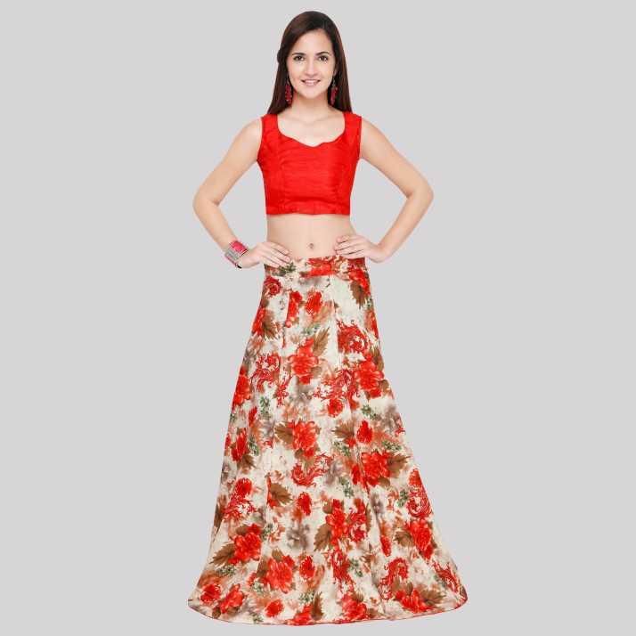 f8b90e0f3b Divastri Floral Print Semi Stitched Lehenga & Crop Top (White, Red)