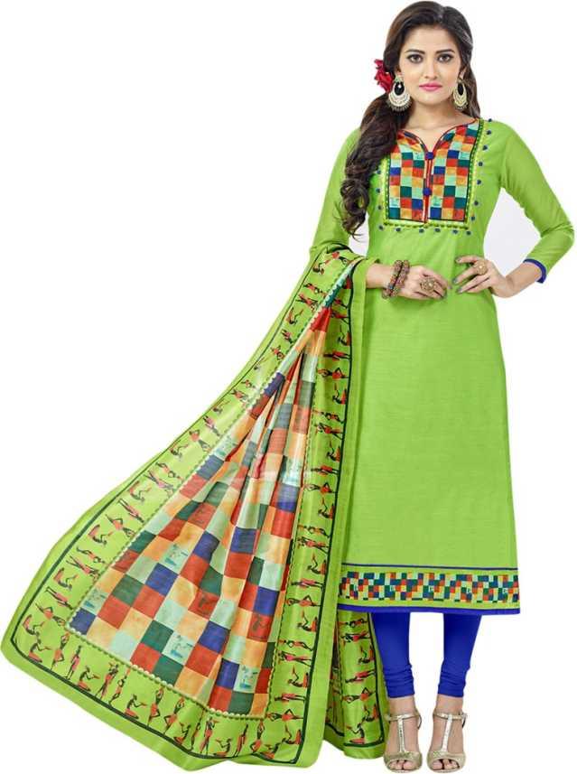f33bca9f60 V SALES Chanderi Printed Salwar Suit Dupatta Material Price in India ...