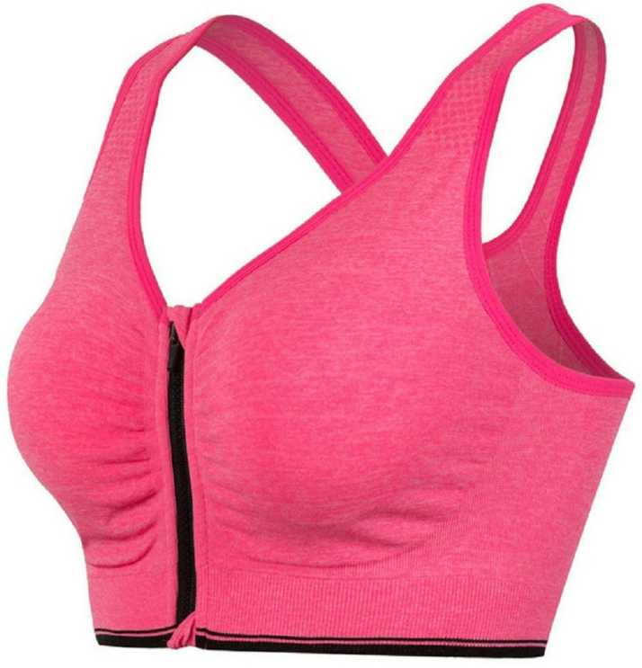 fadf5ed0449 Mysha Front Open Zipper Sports Bra for Women s Sports Lightly Padded ...