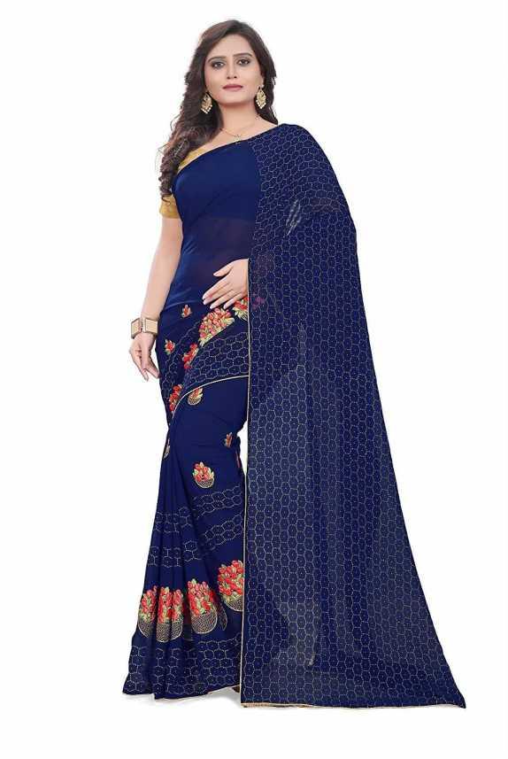 1e9d56cdc1 Buy DELIZIA Embroidered Fashion Georgette Blue Sarees Online @ Best Price  In India | Flipkart.com