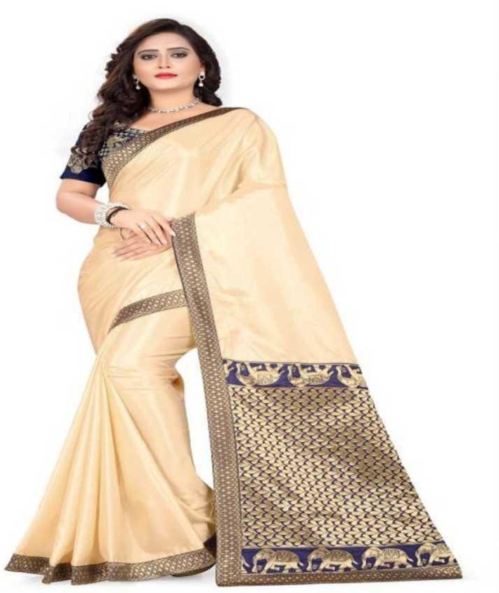 Buy Misily Self Design Fashion Tussar Silk Cream Sarees Online Best Price In India Flipkart Com