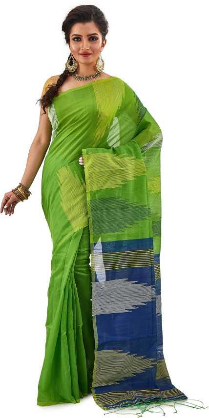 Buy Rai Butique Printed Handloom Cotton Silk Green Sarees Online Best Price In India Flipkart Com