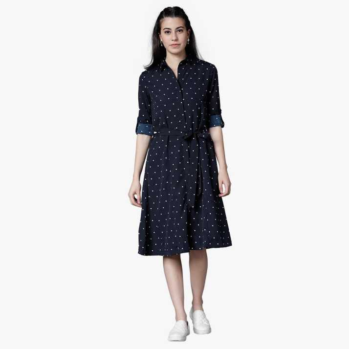 7847c7e1116 Tokyo Talkies Women Shirt Blue Dress - Buy NAVY BLUE WHITE Tokyo Talkies  Women Shirt Blue Dress Online at Best Prices in India
