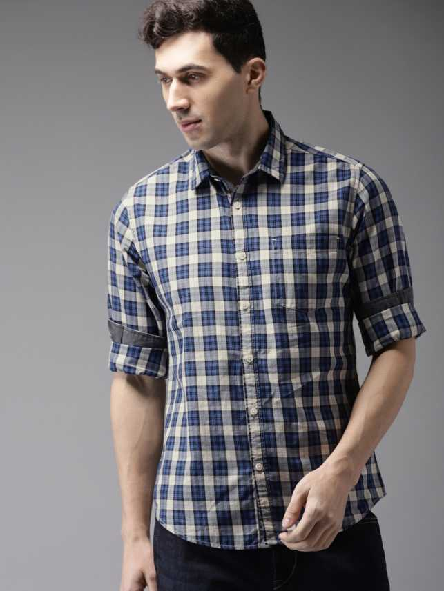 d92ec9d1 HERE&NOW Men Checkered Casual Blue, White Shirt - Buy HERE&NOW Men ...