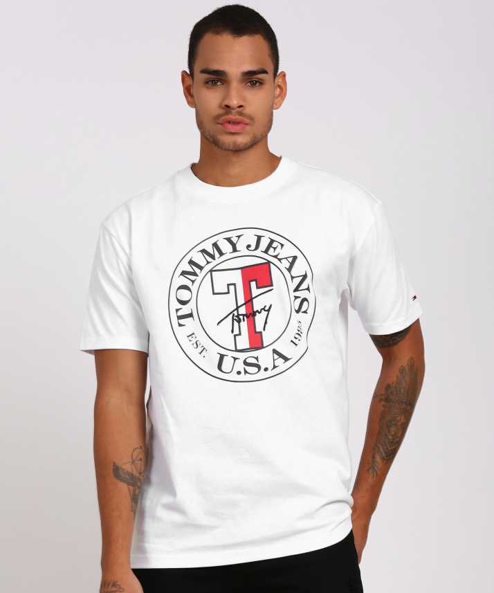 e9e0c2d74f1 Tommy Hilfiger Printed Men Round Neck White T-Shirt - Buy Tommy Hilfiger  Printed Men Round Neck White T-Shirt Online at Best Prices in India