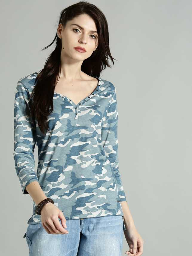 b7eec83af246a Roadster Printed Women V-neck Blue