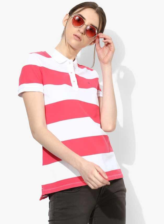 5fefe6e5abf Tommy Hilfiger Striped Women Polo Neck White T-Shirt - Buy Tommy Hilfiger  Striped Women Polo Neck White T-Shirt Online at Best Prices in India |  Flipkart. ...