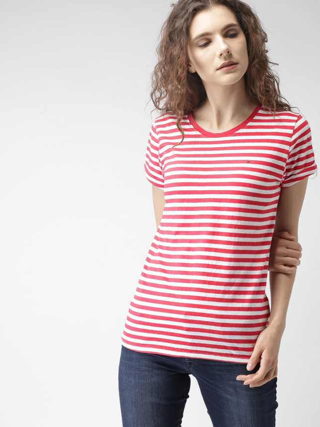 788939457 Tommy Hilfiger Striped Women Round Neck Red, White T-Shirt - Buy Tommy  Hilfiger Striped Women Round Neck Red, White T-Shirt Online at Best Prices  in India ...