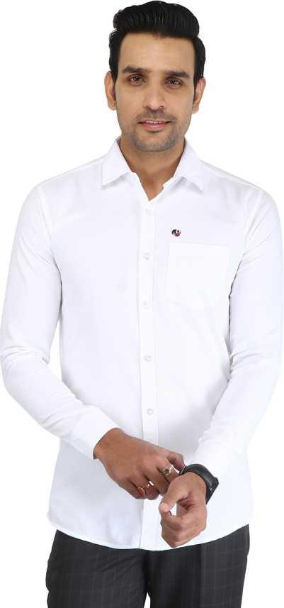 49415935c0837 Sanwariya Men s Solid Casual White Shirt - Buy Sanwariya Men s Solid Casual  White Shirt Online at Best Prices in India