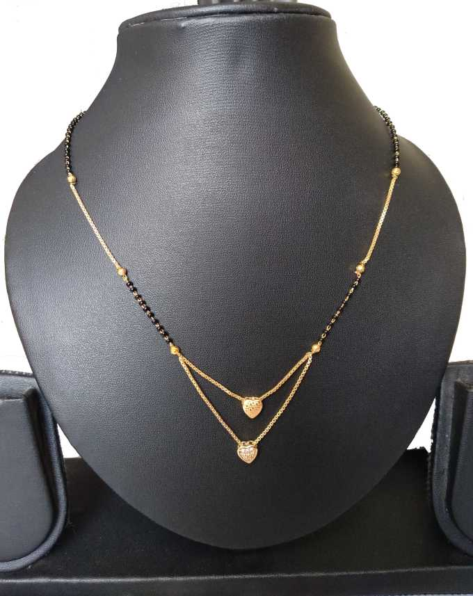 Nilkanth Latest Fashionable Double Heart Mangalsutra Mother Of Pearl Mangalsutra