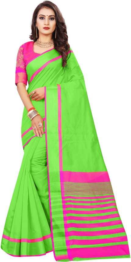 58c6c97ccb2 Indian Fashionista Self Design Chanderi Light Green Cotton Silk Saree (Light  Green)