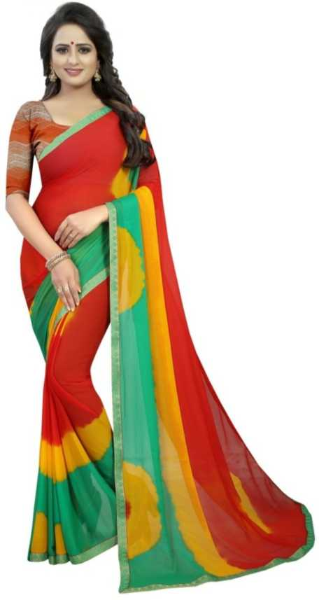 1dbadb39e0 Buy Nora Printed Leheria Chiffon Multicolor Sarees Online @ Best ...