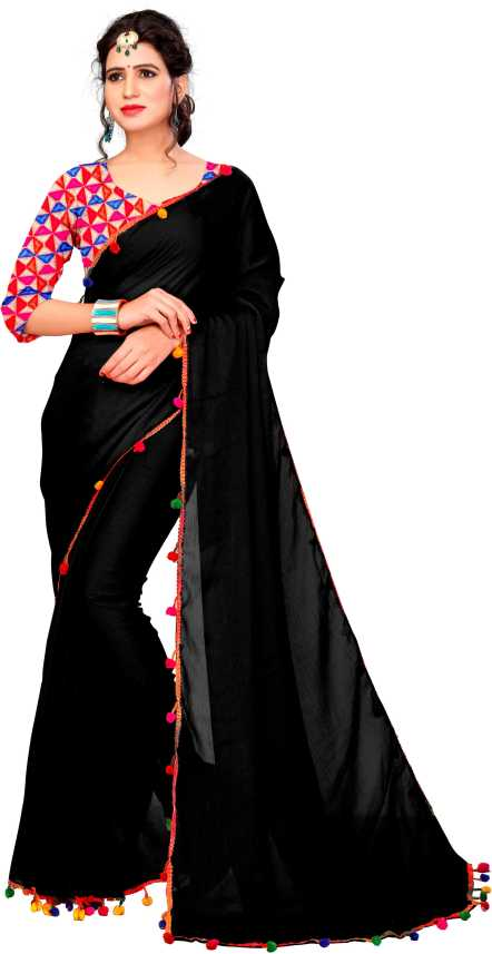 020099bc89 Buy The Fashion Outlets Plain Bollywood Synthetic Chiffon Black Sarees  Online @ Best Price In India | Flipkart.com