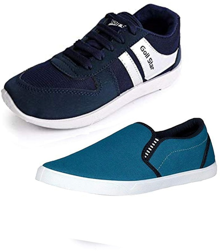 Navy Blue Running with Cream Casual