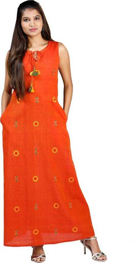 Vintage India Dress Red Print Kalanjali Casual Ethnic S