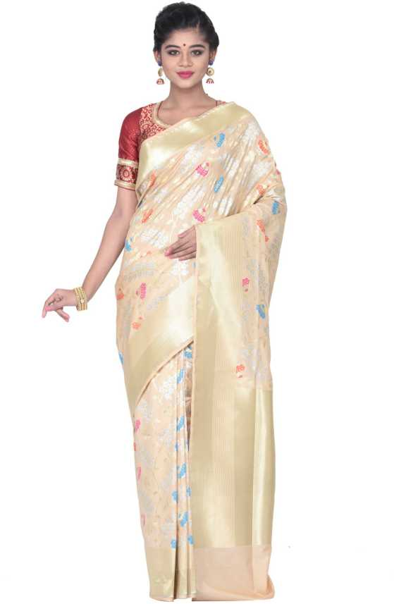 954bc40544 Buy KEYA SETH EXCLUSIVE Solid Fashion Pure Silk Beige Sarees Online ...