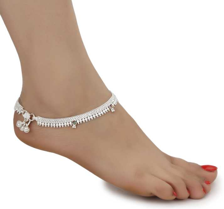 AanyaCentric Indian Traditional Ethnic Fancy Fashion Foot Jewellery Silver  Plated White Metal Ghungroo Painjan Payal Leg Chain Stylish Imitation Pair