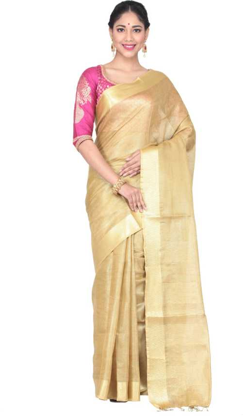 e9328eec23 Buy KEYA SETH EXCLUSIVE Solid Fashion Cotton Linen Blend Gold Sarees Online  @ Best Price In India | Flipkart.com
