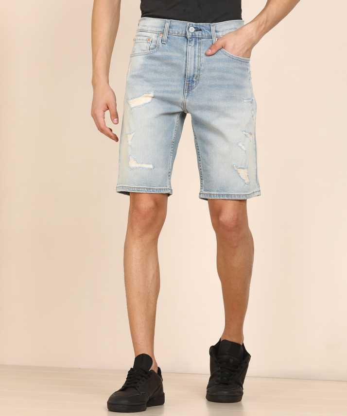 f73e5ddbd9a910 Levi's Distressed Men Blue Denim Shorts - Buy Levi's Distressed Men ...