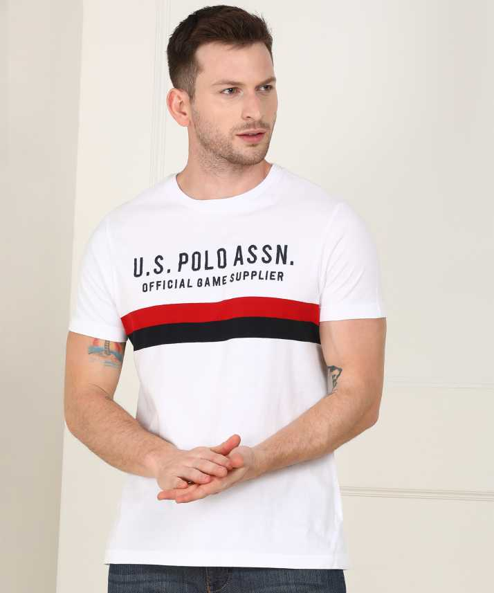 75c6f97b U.S. Polo Assn Printed Men Round Neck White T-Shirt - Buy U.S. Polo Assn  Printed Men Round Neck White T-Shirt Online at Best Prices in India |  Flipkart.com