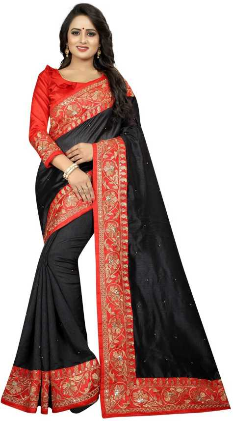 07407ae75c Buy Madhav textiles Embroidered Kerala Poly Silk Black, Red Sarees ...