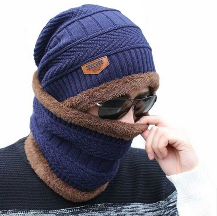 d2b583a3 AlexVyan Song Tian Blue Unisex Woolen Beanie Cap Scarf for Men Women Girl  Boy Warm Snow Proof Black Premium High Quality Soft Cap