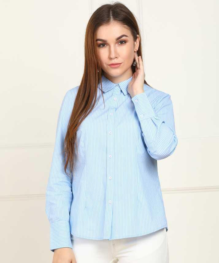 1170ef3a7c Vero Moda Women's Striped Casual Blue Shirt - Buy Vero Moda Women's ...