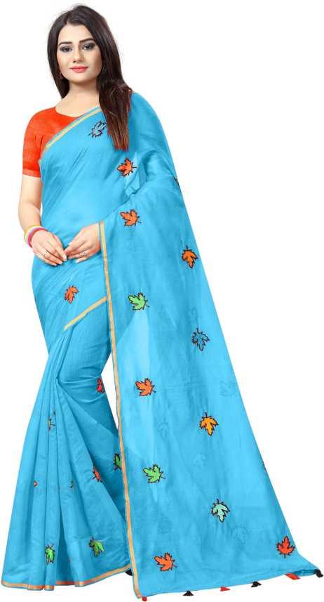 83e08d51c0 Buy Shailaja Embroidered Chanderi Cotton Blue Sarees Online @ Best Price In  India | Flipkart.com