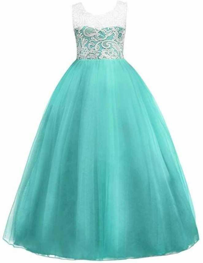 e4d6504e8f Kitty Fashion Girls Maxi/Full Length Festive/Wedding Dress (Green,  Sleeveless)