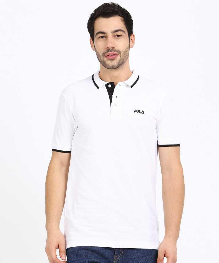 Fila Solid Men Polo Neck White T-Shirt - Buy Fila Solid Men ...
