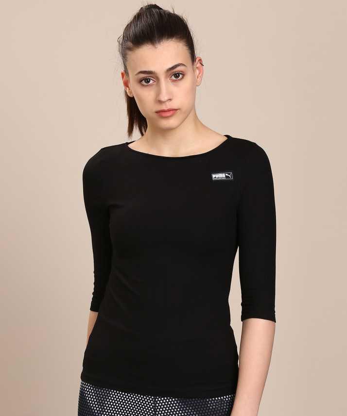 Puma Solid Women Boat Neck Black T Shirt
