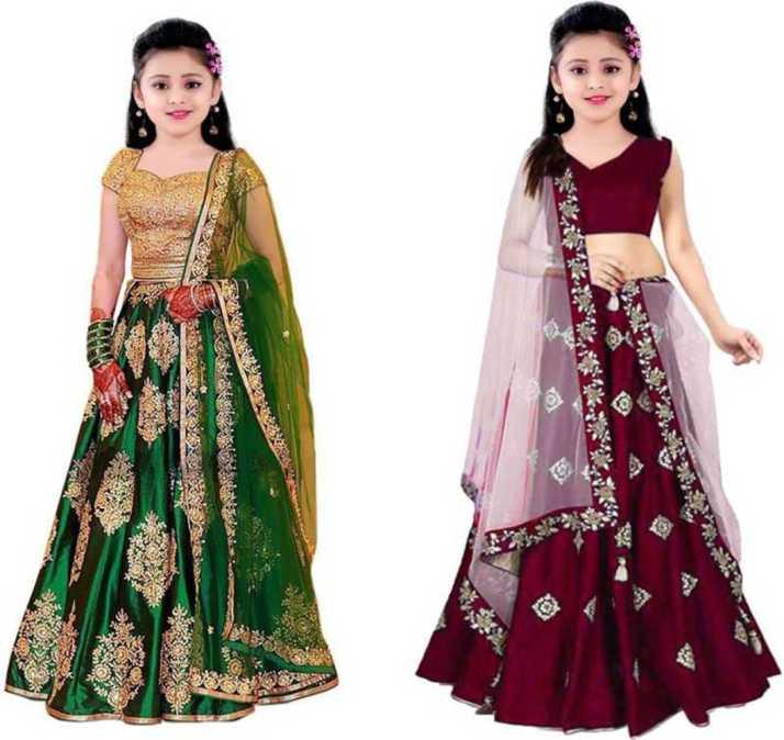 Ynr Fashion Indi Baby Girls Lehenga Choli Party Wear Western Wear Fusion Wear Applique Ghagra Choli Dupatta Set