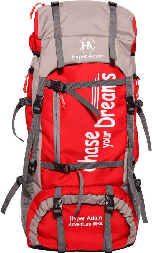 Hyper Adam 65 L TRAVEL BACKPACK FOR OUTDOOR SPORT HIKING TREKKING BAG  CAMPING RUCKSACK Rucksack - 65 L Red - Price in India | Flipkart.com