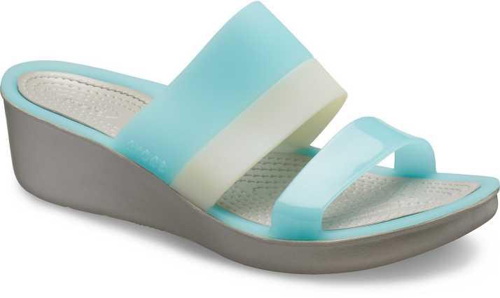 befbc3d9190 Crocs Women Ice Blue Platinum Wedges - Buy Crocs Women Ice Blue Platinum  Wedges Online at Best Price - Shop Online for Footwears in India