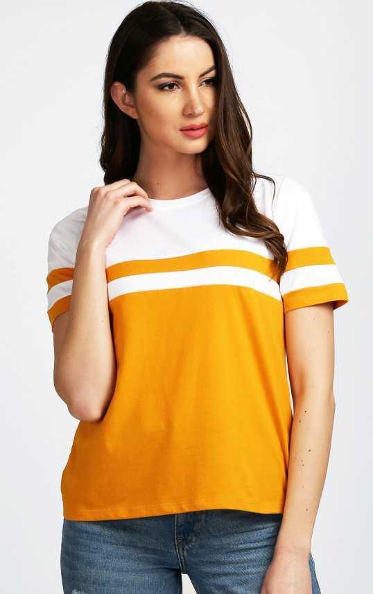 a94d5e49df2 Aelomart Casual Half Sleeve Striped Women Yellow, White Top - Buy Aelomart  Casual Half Sleeve Striped Women Yellow, White Top Online at Best Prices in  India ...