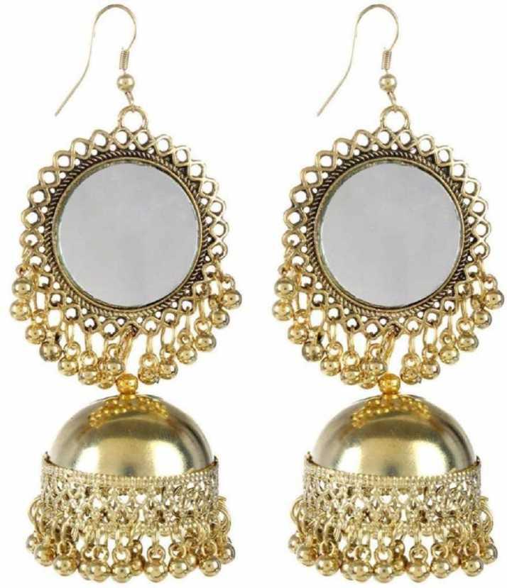 1ffbd96f2 Nityakshi Women's Girl's Oxidized Golden Mirror Work Designer Earring |  Earrings for women stylish| Earring for women latest design | Earrings for  girls ...