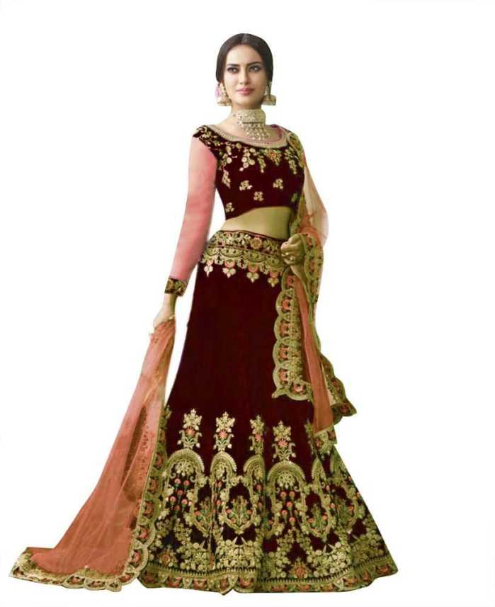 b48e647a3 DClothvilla Embroidered Semi Stitched Lehenga