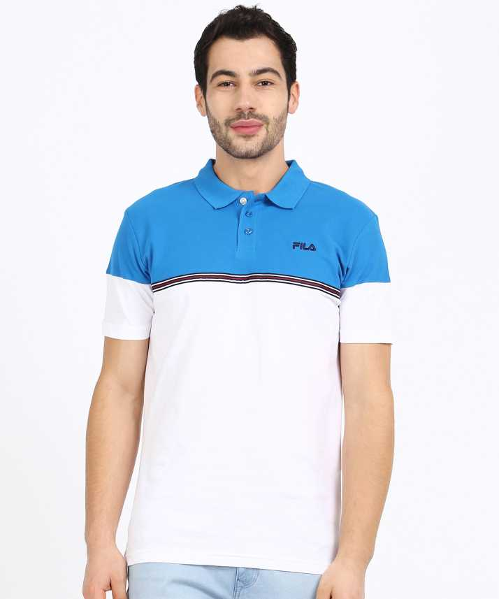 Fila Color Block, Striped Men Polo Neck Blue, White T-Shirt