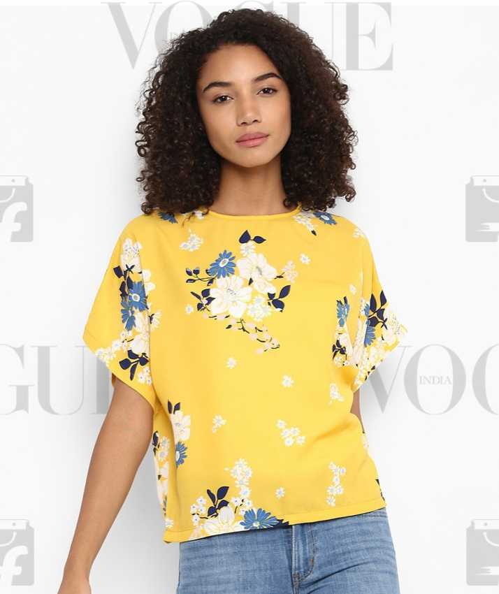 8f5520e7c372c Harpa Casual Half Sleeve Floral Print Women Yellow Top - Buy Harpa Casual  Half Sleeve Floral Print Women Yellow Top Online at Best Prices in India ...