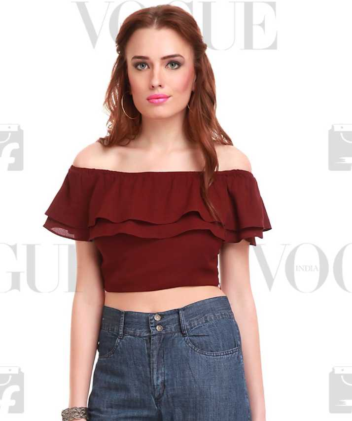 a0a57aef60bc5 Sassafras Party Cape Sleeve Solid Women s Maroon Top - Buy Maroon Sassafras  Party Cape Sleeve Solid Women s Maroon Top Online at Best Prices in India  ...