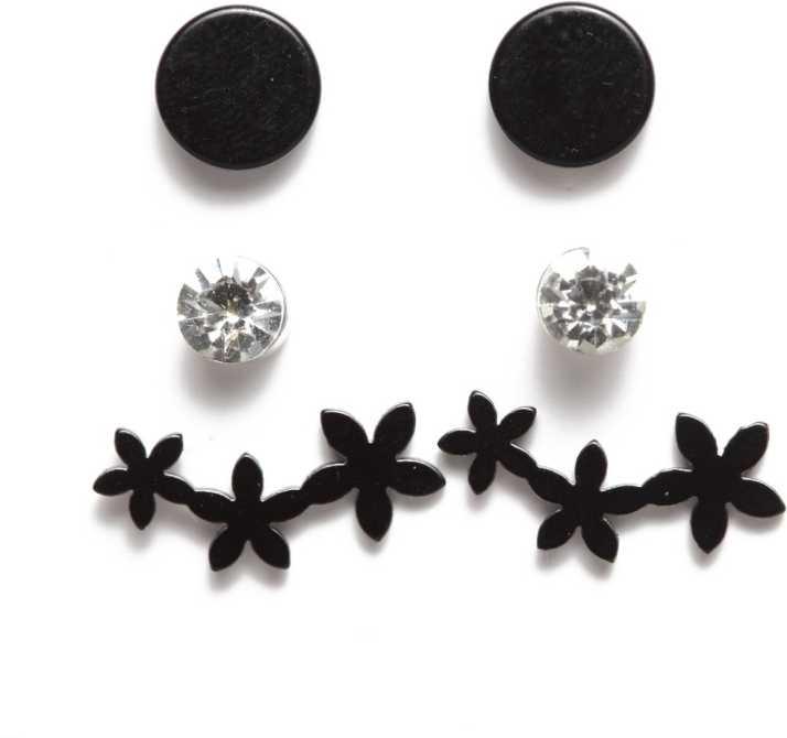 69cfb89dbe Sassafras SASSAFRAS Women Set of 3 Black White Earrings Metal Stud Earring