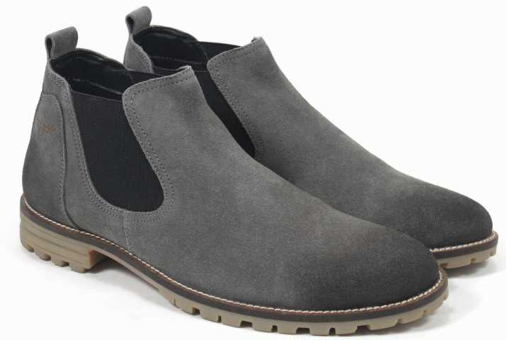 Freacksters Suede Leather Canvas Sneakers Chelsea Boots Boots For Men