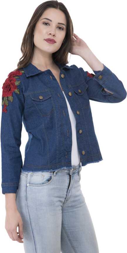 c2e40988f946c3 MONTREZ Full Sleeve Floral Print Women s Denim Jacket - Buy Dark Blue  MONTREZ Full Sleeve Floral Print Women s Denim Jacket Online at Best Prices  in India ...