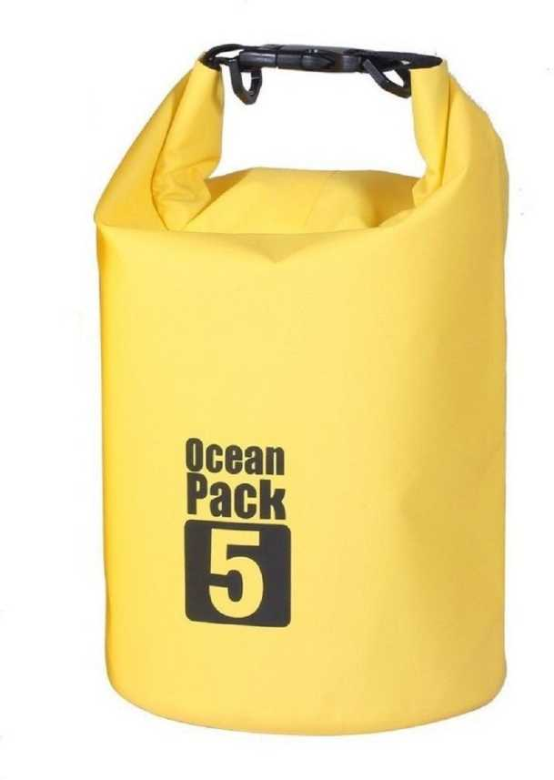 Myfizi Ocean Pack Waterproof 5 Liters Sports Dry Bag (Multicolor) Small Travel Bag - 19 inch / 48 cm (Yellow)