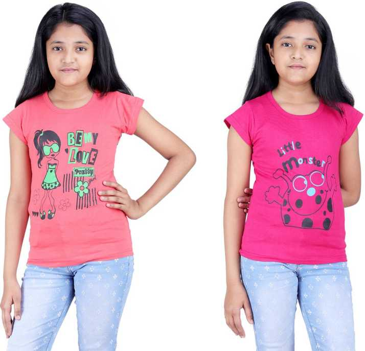 47f5650fd53 Online Shopping Mall Girls Printed Cotton T Shirt (Multicolor, Pack of 2)