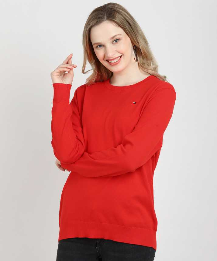 d088b225 Tommy Hilfiger Solid Round Neck Casual Women Red Sweater - Buy Tommy  Hilfiger Solid Round Neck Casual Women Red Sweater Online at Best Prices in  India ...