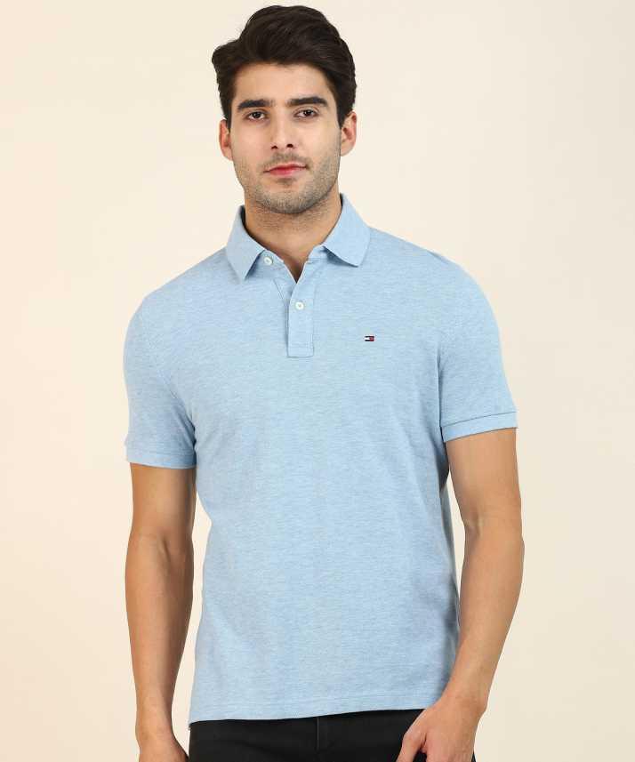 Tommy Hilfiger Solid Men Polo Neck Light Blue T Shirt Buy